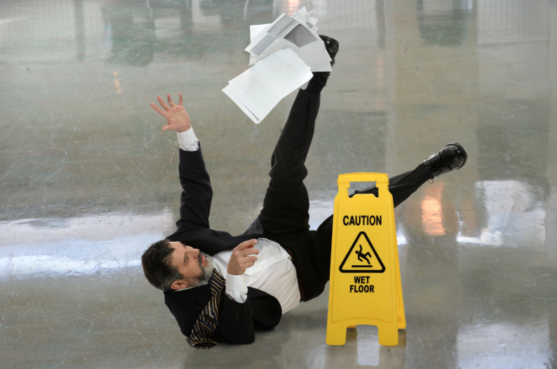 a man is falling down, workers compensation attorney